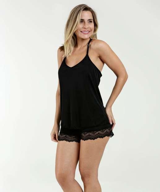 47614b3ab Pijama Feminino Short Doll Renda Nadador Marisa