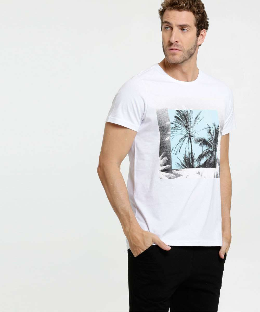 Camiseta Masculina Estampa Coqueiros Manga Curta