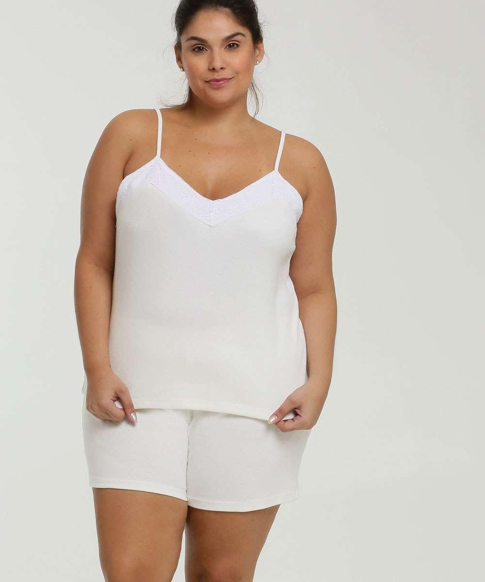 Pijama Feminino Recorte Renda Plus Size Marisa