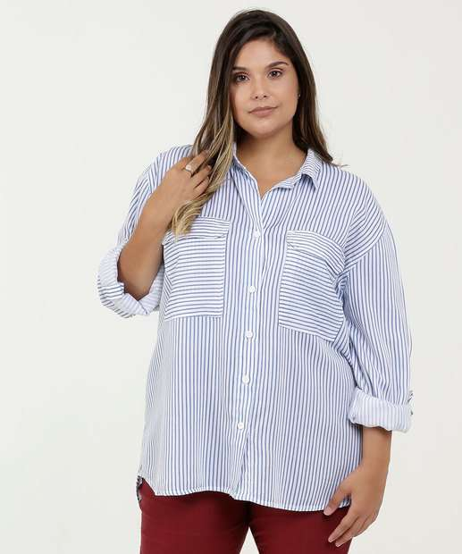 Image_Camisa Feminina Listrada Plus Size Razon