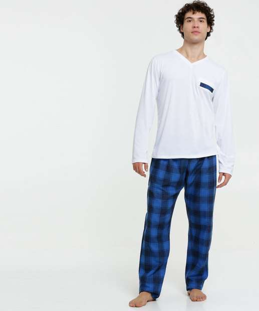 Image_Pijama Masculino Estampa Xadrez Manga Longa
