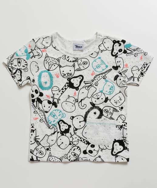 Image_Camiseta Infantil Botonê Estampa Animais Manga Curta