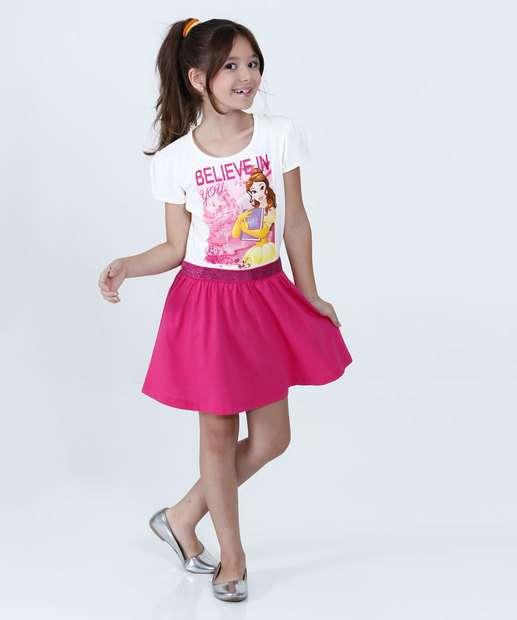 Image_Vestido Infantil Princesa Bela Manga Curta Disney
