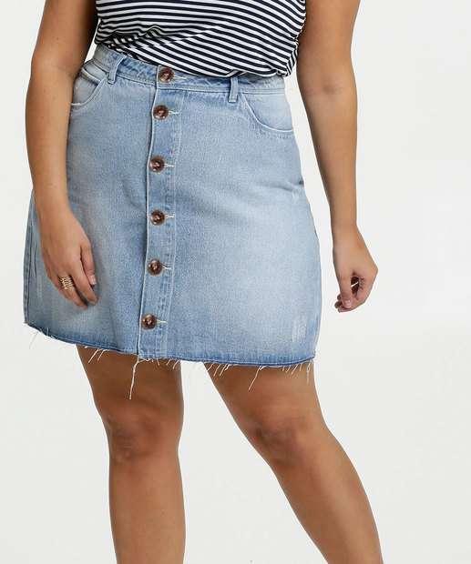 Image_Saia Feminina Jeans Botões Plus Size Marisa