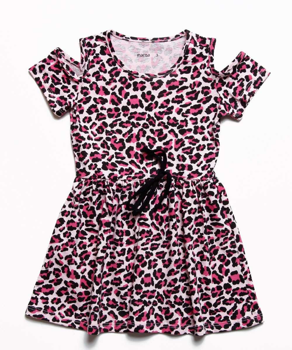 Vestido Infantil Open Shoulder Animal Print Marisa