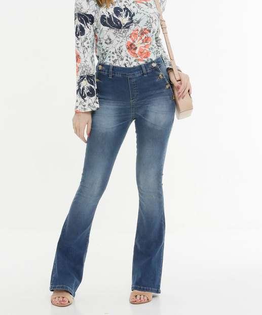 Image_Calça Boot Cut Feminina Botões Zune Jeans
