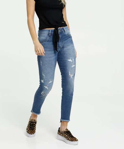 Image_Calça Feminina Jeans Destroyed Bordada Cigarrete Biotipo