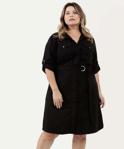 Image_Vestido Feminino Sarja Chemise Plus Size