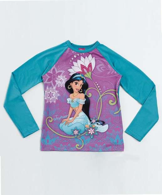 Image_Blusa Praia Infantil Princesa Jasmine Proteção UV Disney