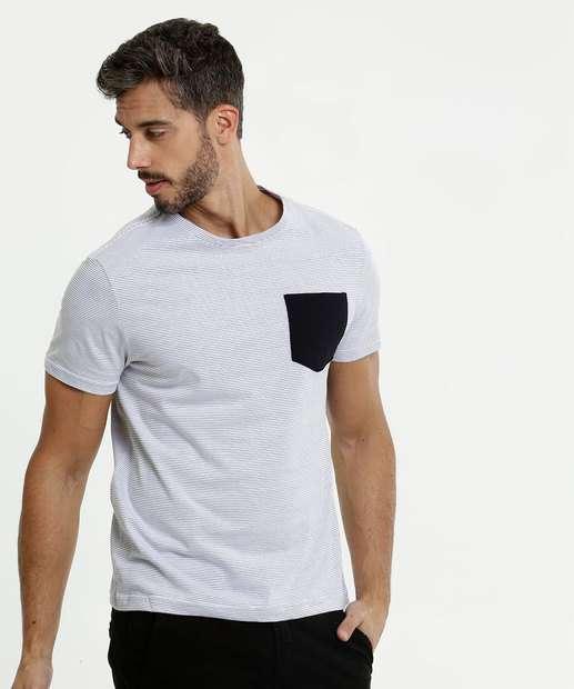 Image_Camiseta Masculina Listrada Bolso Manga Curta