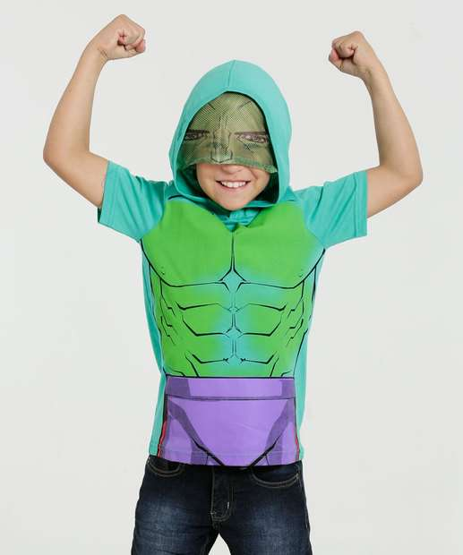 Image_Camiseta Infantil Manga Curta Capuz Hulk Marvel