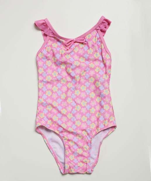 Image_Maiô Infantil Flores Laço Proteção UV Pimpolho Tam 3 a 4