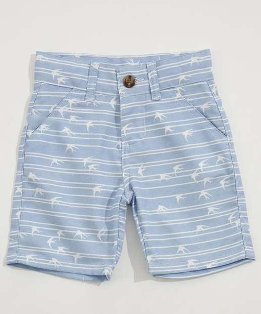 Image_Bermuda Infantil Jeans Estampa Pássaros Listrada Marisa