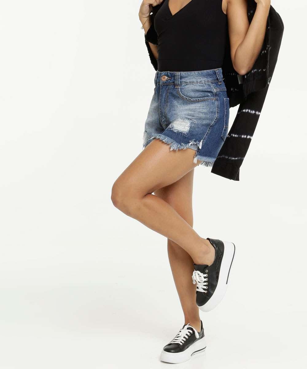 Short Feminino Jeans Destroyed Marisa