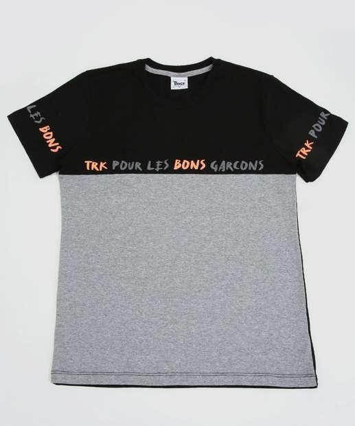 Image_Camiseta Juvenil  Estampada Bicolor Tam 10 a 16