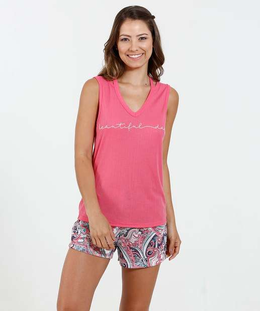 Image_Pijama Feminino Short Doll Estampa Paisley Marisa