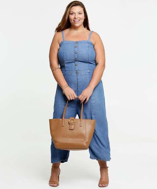 Image_Macacão Feminino Pantacourt Jeans Plus Size Alças Finas