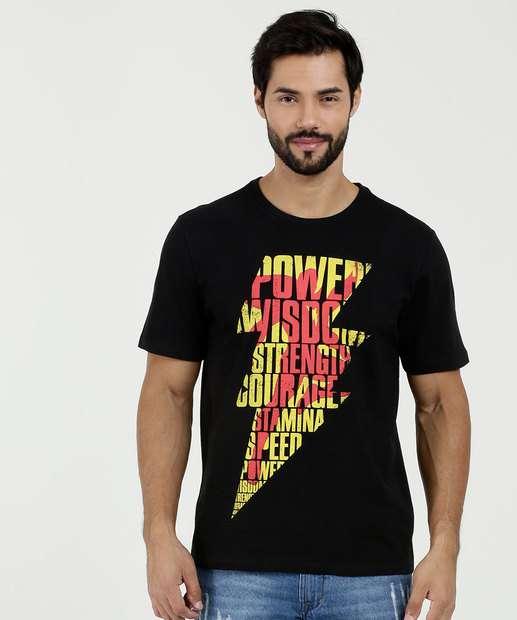 Image_Camiseta Masculina Estampa Shazam Manga Curta Warner Bros