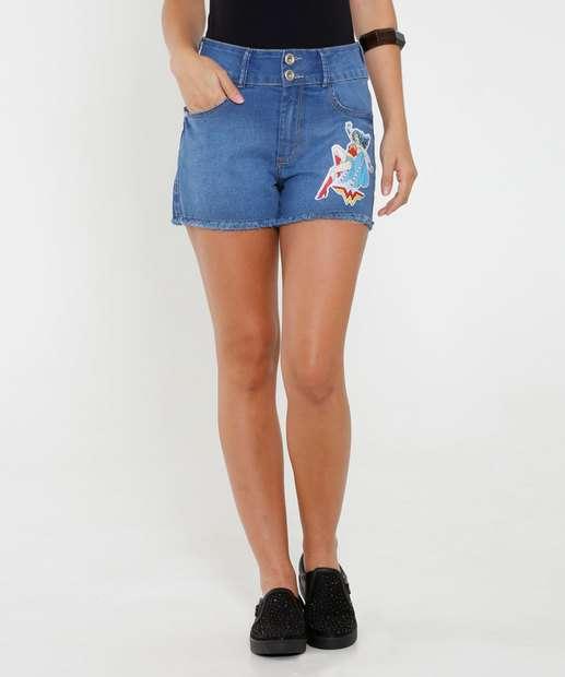 Image_Short Feminino Jeans Mulher Maravilha