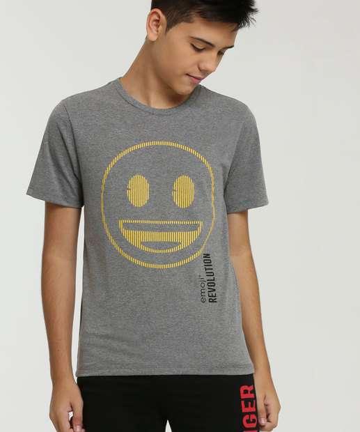 Image_Camiseta Juvenil Estampa Frontal Manga Curta Emoji