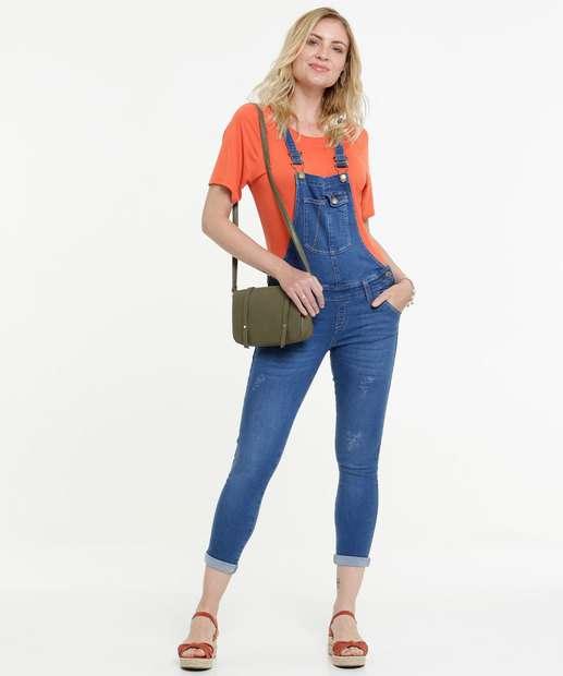 Image_Macacão Feminino Jeans Botões Alças Finas