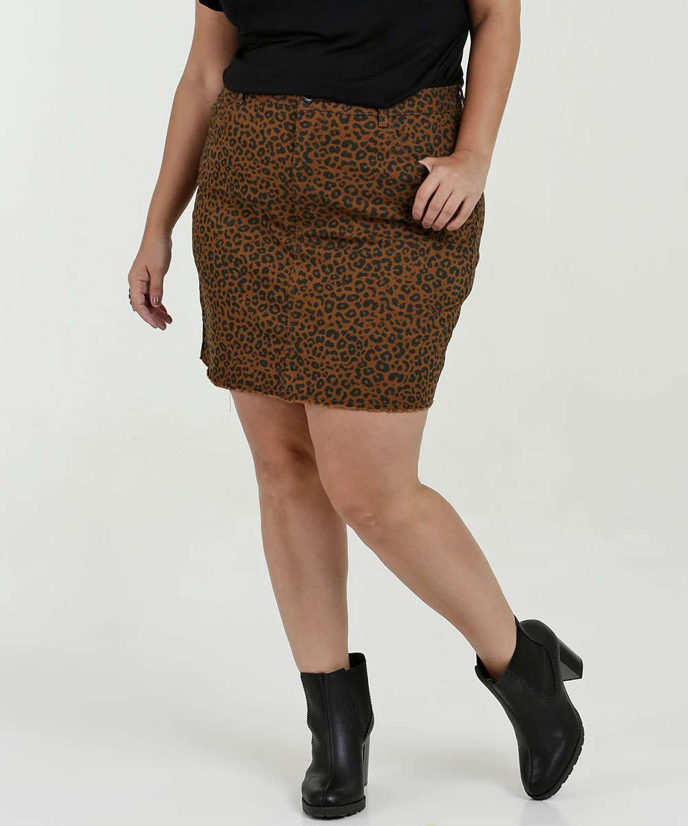 Saia Feminina Sarja Estampa Animal Print Plus Size Razon