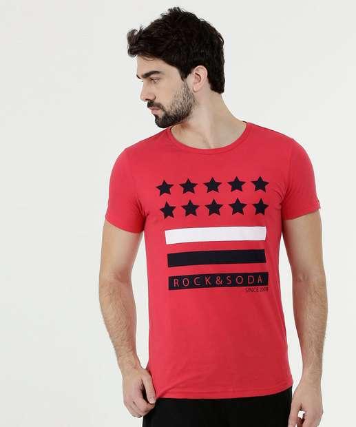 Image_Camiseta Masculina Estampa Estrelas Manga Curta Rock & Soda