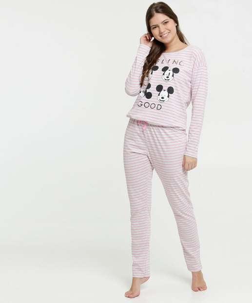 Image_Pijama Feminino Listrado Estampa Mickey Disney