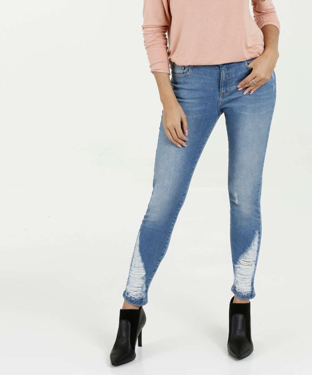 Calça Jeans Destroyed Cigarrete Feminina Marisa