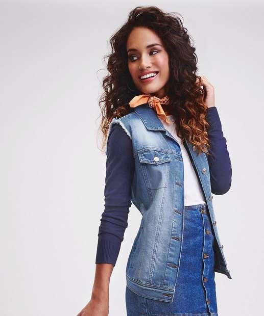 Image_Colete Feminino Jeans Marmorizado Puídos Marisa