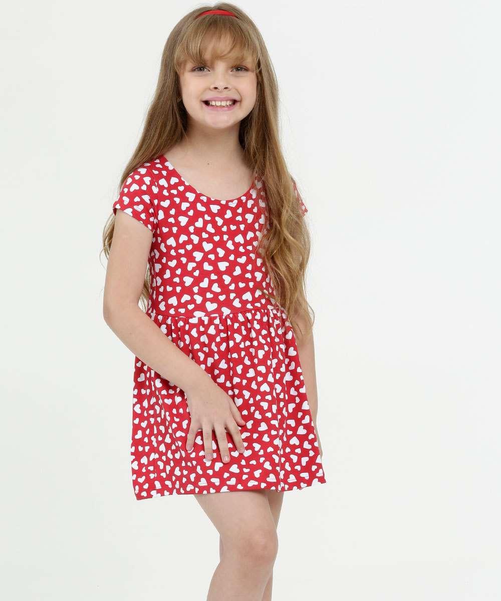 Vestido Infantil Estampa Coração Manga Curta