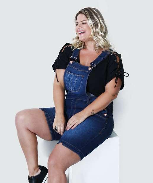 Image_Jardineira Feminina Jeans Plus Size Mix Jeans