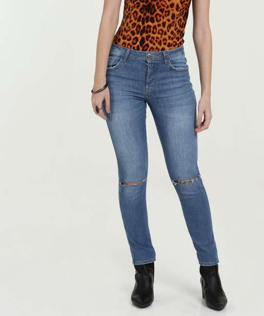 dc427f3e5 Calça Feminina Jeans Cigarrete Destroyed Marisa