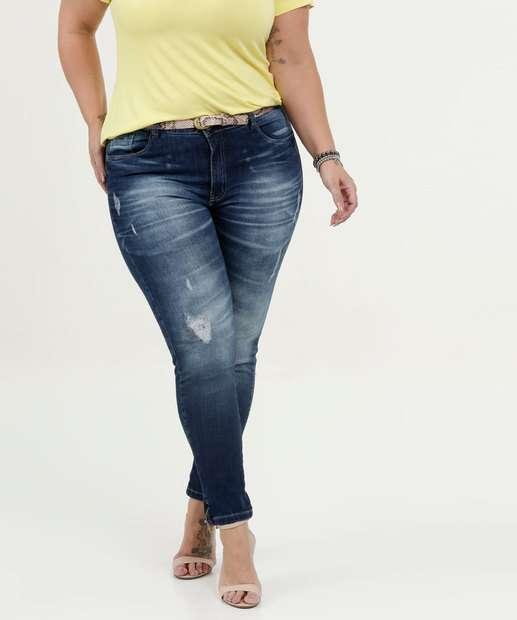 Image_Calça Feminina Jeans Skinny Puídos Plus Size Razon