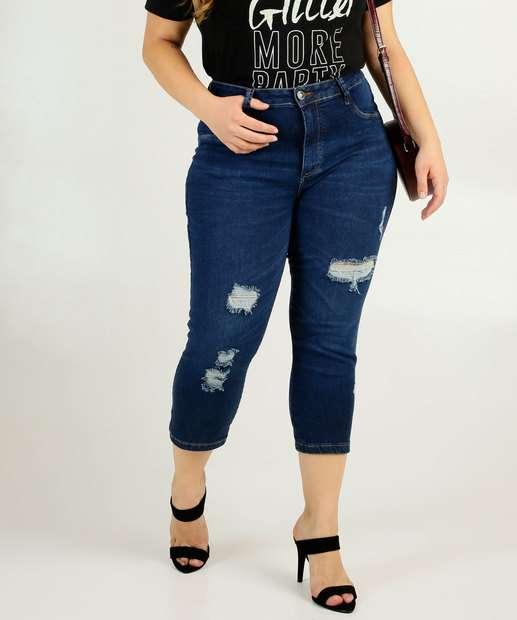 Image_Calça Plus Size Feminina Jeans Capri Destroyed