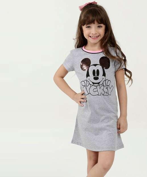 Image_Vestido Infantil Estampa Mickey Paetê Manga Curta Disney