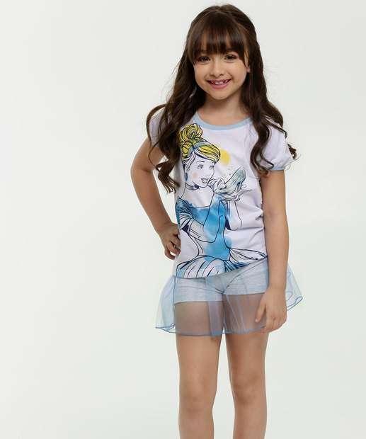 Image_Pijama Infantil Estampa Cinderela Tule Manga Curta Disney