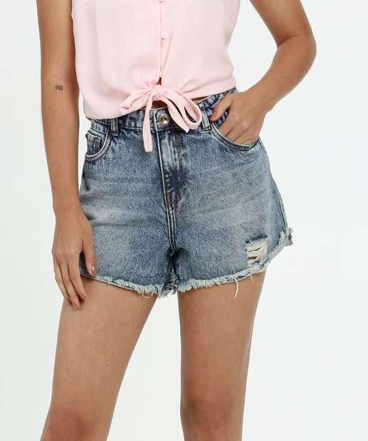 Image_Short Feminino Jeans Destroyed Cintura Média Marisa