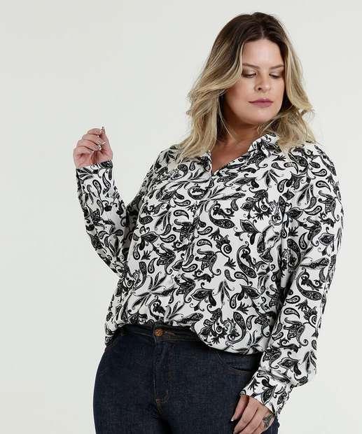 ad5fc4cb5 Camisa Feminina Crepe Estampa Floral Plus Size Marisa