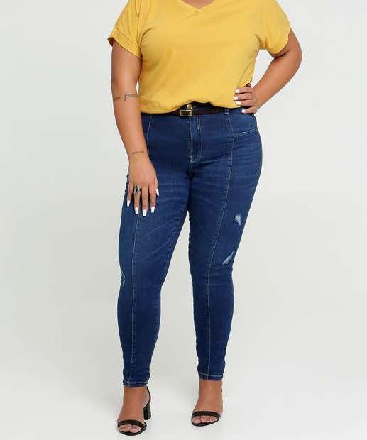 Image_Calça Jeans Skinny Feminina Puídos Plus Size