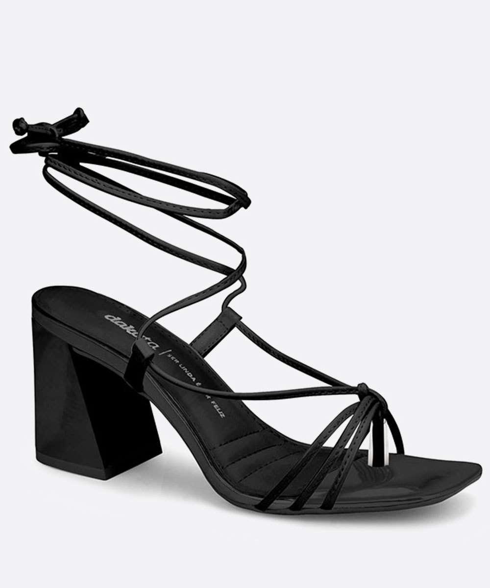 Sandália Salto Grosso Feminina Tiras Amarração Dakota