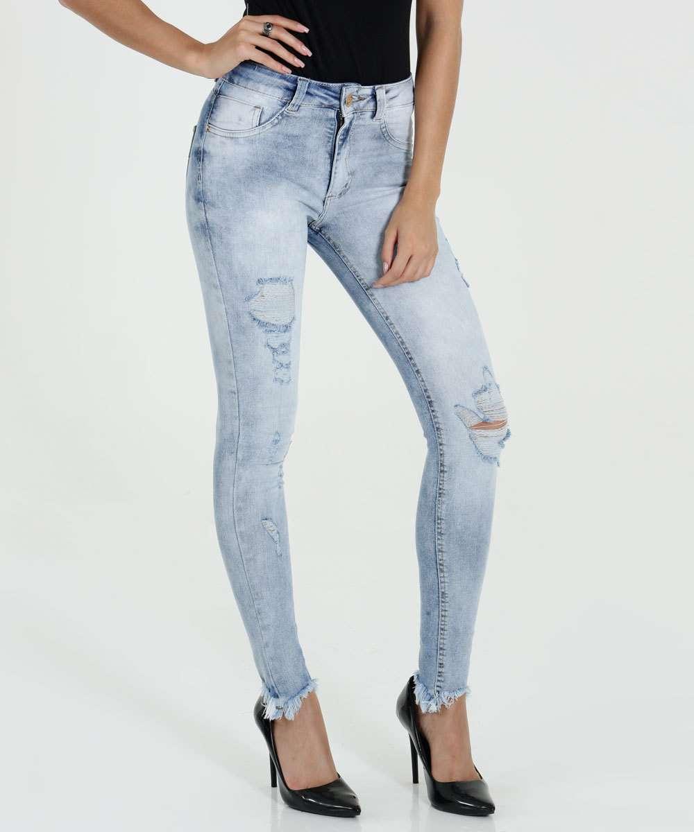Calça Feminina Skinny Destroyed Jeans Biotipo