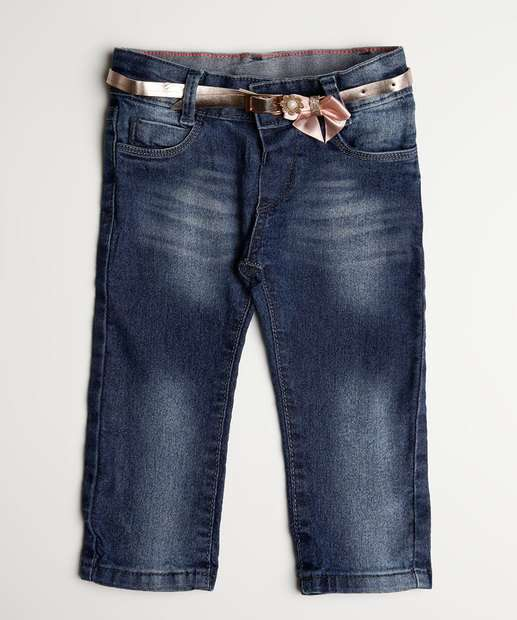 Image_Calça Infantil Jeans Cinto Laço Glitter