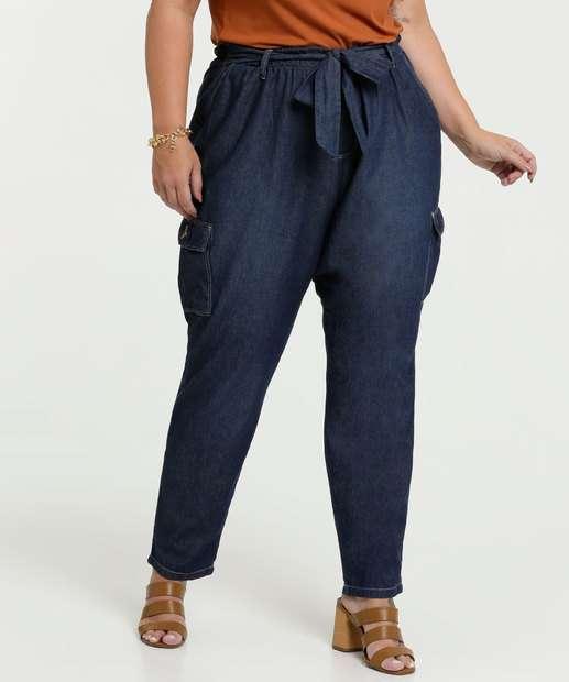 Image_Calça Jeans Feminina Clochard Cargo Plus Size