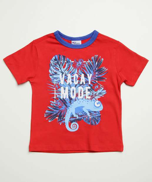 Image_Camiseta Infantil Manga Curta Estampa Folhas Tam 1 a 3