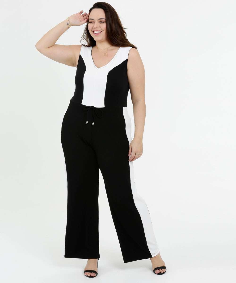 Macacão Feminino Bicolor Pantalona Plus Size Sem Manga