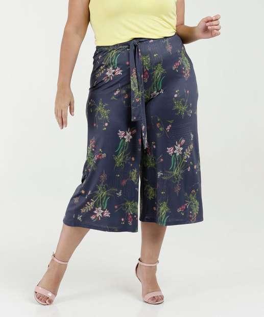 Image_Calça Feminina Pantacourt Estampa Floral Plus Size