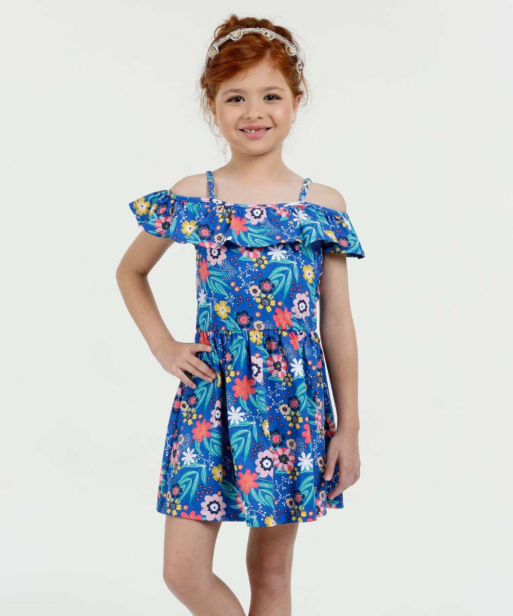 Vestido Infantil Open Shoulder Estampado Marisa