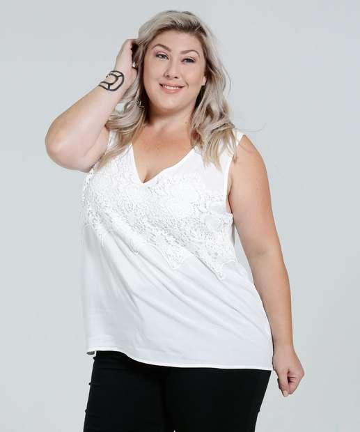 Image_Blusa Feminina Regata Renda Guipir Plus Size Marisa
