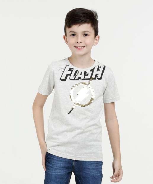 Image_Camiseta Infantil Estampa Flash Paetês Liga da Justiça